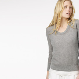 James Perse - COTTON CASHMERE THERMAL JEWEL NECK