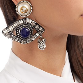 GUCCI - Crystal-embellished eye drop earrings