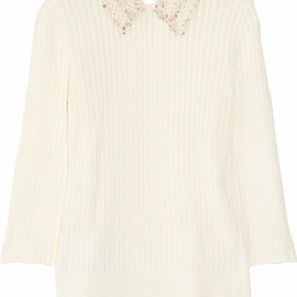 miu miu - Embellished-collar cable-knit cotton sweater