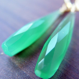 Friedasophie - Green Onyx Long Teardrop Earrings
