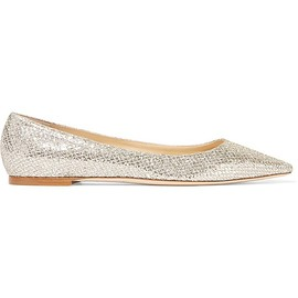 Jimmy Choo - Romy glittered canvas point-toe flats