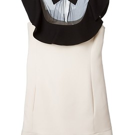 VALENTINO - Ivory and black wool-silk blend ruffled cocktail dress
