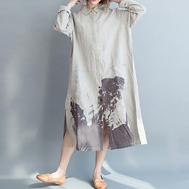 Maxi dress - Maxi dress, Linen collar women dress, Linen long shirt, loose shirt dress In beige, White