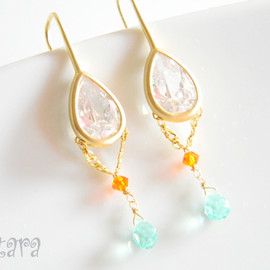 Ostara - 16k Gold Plated Cubic Zirconia Dangle Earrings