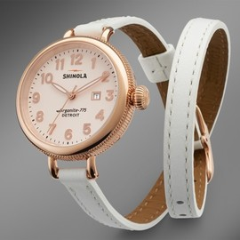 THE BIRDY - THE BIRDY 34mm DOUBLE WRAP LEATHER STRAP WATCH