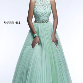 Sherri Hill 21334 - Sherri Hill 21334 Light Green Open-Back Lace Floral Long Prom Dress Cheap