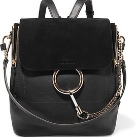 Chloé - Faye medium textured-leather and suede backpack