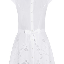 CARVEN - Embroidered cutout cotton-piqué dress