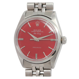 ROLEX - Stainless Steel Air-King Wristwatch with custom Tomato Red Dial circa 1962
