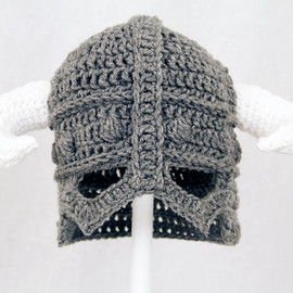 GeekinOut - Skyrim Hat / Helmet, Crochet Grey Viking Helm with Horns