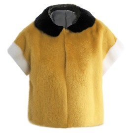 FENDI - Tri colour cropped mink fur jacket