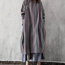 long stripe dress - Women oversized long stripe dress Loose Long sleeve long gown/ blue/ grey