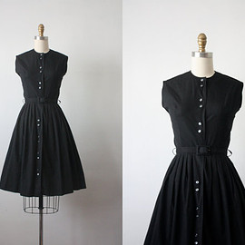 50s dress / 1950s dress / crisp black day dress