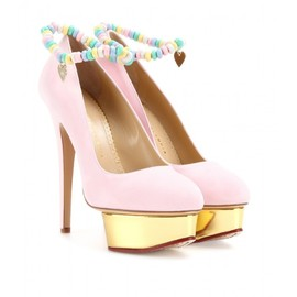 Charlotte Olympia - SWEET DOLLY SUEDE PLATFORM PUMPS