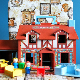 Fisher Price - Vintage Fisher Price Little People House and Accessories