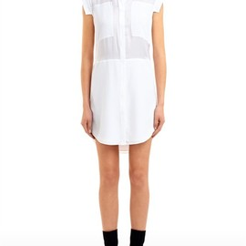 T by Alexander Wang - Crepe De Chine & Mesh Combo Shirt Dress Thumb