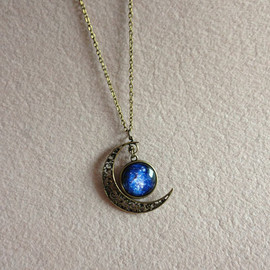Xiaoyancasejewelry - Silver hollow star galactic cosmic moon necklace