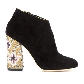 DOLCE&GABBANA - VALLY EMBELLISHED SUEDE ANKLE BOOTS