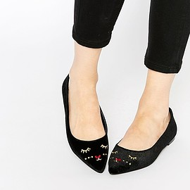 ASOS - ASOS LUCKY Mouse Face Pointed Ballet Flats
