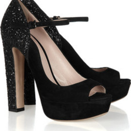 Miu Miu - glitter-finish suede mary jane pumps