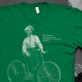 Mark Twain Bike quote Tshirt Mens American Apparel color t-shirt