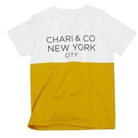 CHARI & CO NYC - Chari & Co NYC x ID Dailywear Bi Tone tee Color White & Mustard