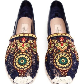 VALENTINO - Embroidered Calf Leather Espadrilles