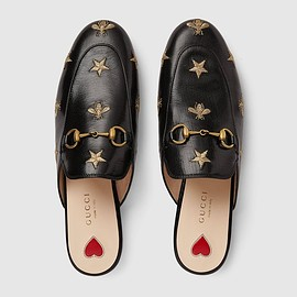GUCCI - Gucci Princetown embroidered leather slipper
