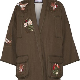 REDValentino - Faux shearling-lined embroidered cotton-canvas jacket