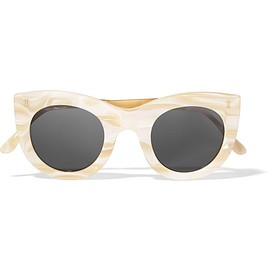 Illesteva - Boca II cat-eye marble acetate and gold-tone sunglasses