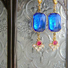 Ostara - French Vintage Exotic Blue Parts Earrings