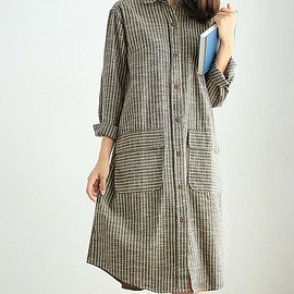 Long sleeve dress - Loose gray Long Dresses, light coffee color Striped Long sleeve dress