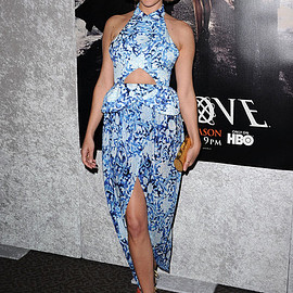 Rodarte - Chloe Sevigny : blue paisley and floral print cut-out evening gown