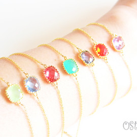 Ostara - 14kgf Bracelet with 16k Gold Plated cutting Glass