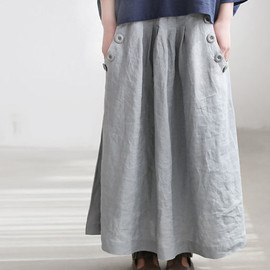 skirt - Linen big pocket long skirt