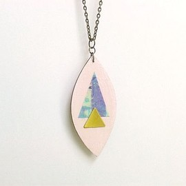 Red Paper House - Geometric Pastel Pink Leaf Necklace