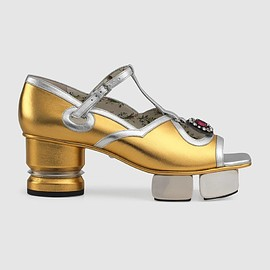 GUCCI - T-strap leather sandal with sculpted platform