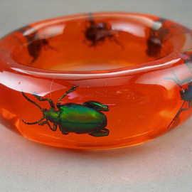 XL Orange Bagel Style Lucite Insect Bug Beetle Bracelet