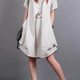 dress - Summer dress/ cotton pleated Short sleeve dress with decorative buttons/ simple beige lantern dress