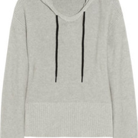 T by Alexander Wang  - Knitted cotton hooded top