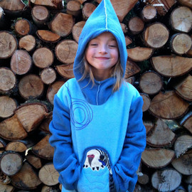 MorelandDesigns - Child's Budgie Hoodie in fleece with pointed hood