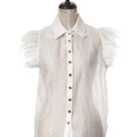 Honey mi Honey - Lace coller shoulder frill brouse white
