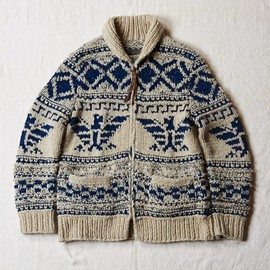 OLD JOE & CO. - INDIGO SLUB YARN COWICHAN SWEATER (NATURAL x BLUE INDIGO)
