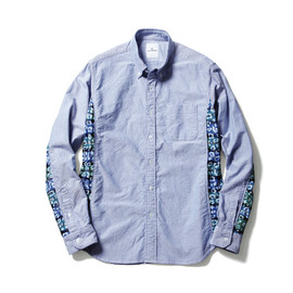 SOPHNET. - SIDE STAR LEOPARD FLANNEL CHECK PANEL OXFORD B.D SHIRT