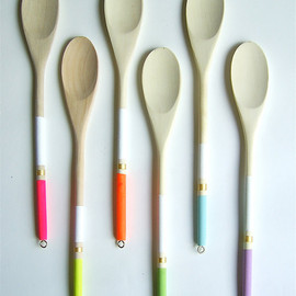 nicoleporterdesign - Modern Neon Hardwood Serving Spoons, Set of 6
