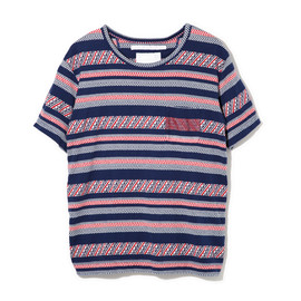 White Mountaineering - WAVE JACQUARD BORDER JERSEY CREW NECK POCKET T-SHIRT