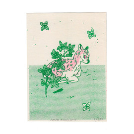 SarahMcNeil on Etsy - Blackberry Deer Risograph Print