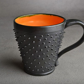 Symmetrical Pottery - Spiky Mug: Made To Order Black and Orange Dangerously Spiky Mug