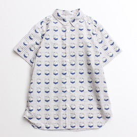 I am I - 60 typewriter MILK check short sleeve shirt