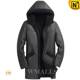 CWMALLS - Detroit Custom Black Sheepskin Coat with Hood CW818535 | CWMALLS.COM
